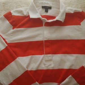 Jcrew orange and white rugby polo